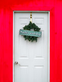 De deur van de Santasworkshop Stock Foto's