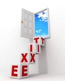 De deur van de uitgang aan hemel met tekst blokkeert ladder Stock Foto