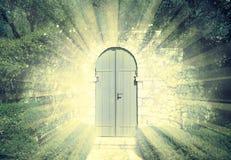 De deur van de hemel in dromerig rosegarden met zonnestraal stock foto