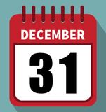 31 de dezembro Calendário no projeto liso ilustração royalty free