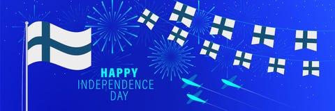 6 de dezembrocartão do Dia da Independência de Finlandia Fundo da celebração com fogos de artifício, bandeiras, mastro de bandei ilustração do vetor