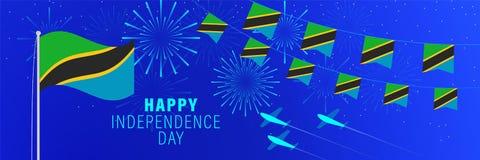 9 de dezembrocartão do Dia da Independência de Tanzânia Fundo da celebração com fogos de artifício, bandeiras, mastro de bandeir ilustração stock