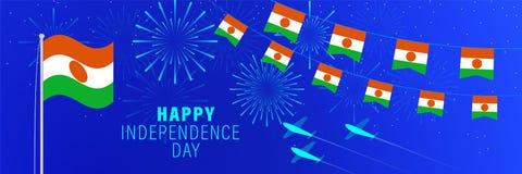 18 de dezembro cartão de Niger Independence Day Fundo da celebração com fogos de artifício, bandeiras, mastro de bandeira e texto ilustração stock