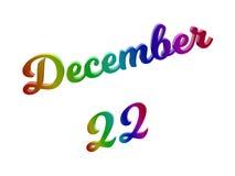 22 de dezembro data do calendário do mês, 3D caligráfico rendeu a ilustração do texto colorida com inclinação do arco-íris do RGB Foto de Stock
