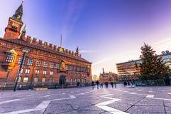 2 de dezembro de 2016: Céu acima da cidade Hall Square em Copenhaga, Fotos de Stock Royalty Free