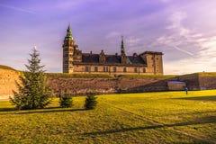 3 de dezembro de 2016: Castelo de Kronborg no Natal em Helsingor, D Fotos de Stock Royalty Free