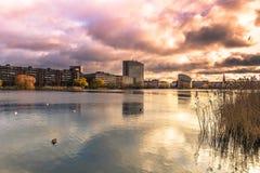 4 de dezembro de 2016: Por do sol em Copenhaga, Dinamarca Imagem de Stock