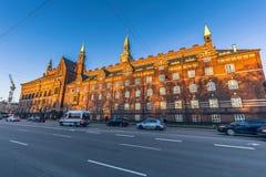 2 de dezembro de 2016: Sideview da câmara municipal de Copenhaga, Denm Fotos de Stock Royalty Free