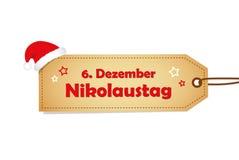 6 de dezembro etiqueta do papel de Nicholas Day de Saint com estrelas ilustração royalty free