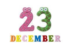 23 de dezembro no fundo, nos números e nas letras brancos Imagens de Stock Royalty Free