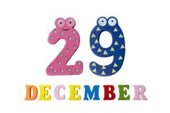 29 de dezembro no fundo, nos números e nas letras brancos Foto de Stock Royalty Free