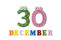 30 de dezembro no fundo, nos números e nas letras brancos Fotos de Stock