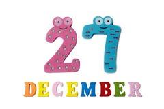 27 de dezembro no fundo, nos números e nas letras brancos Fotografia de Stock Royalty Free