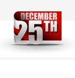 25 de dezembro projeto da etiqueta ilustração stock