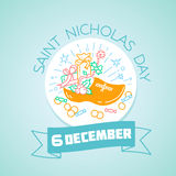 6 de dezembro Saint Nicholas Day ilustração royalty free