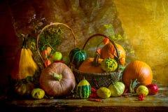 De Dia das Bruxas do outono da queda da abóbora do ajuste da tabela vintage da vida ainda Foto de Stock Royalty Free