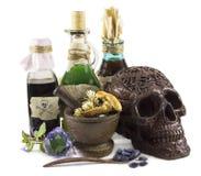 De Dia das Bruxas vida ainda com crânio Fotografia de Stock Royalty Free