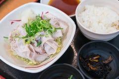 De dia en de brandwond van het Kurobutavarkensvlees met Shoyu-de reeks van Sausbento onbeweeglijk stock fotografie
