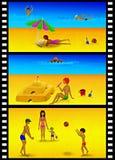 De dia's van de strandrecreatie Stock Afbeeldingen