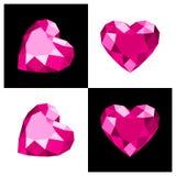 De diamantpictogram van de hartvorm Stock Afbeelding