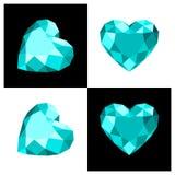 De diamantpictogram van de hartvorm Royalty-vrije Stock Foto's
