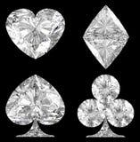 De diamantvormige Kostuums van de Kaart over zwarte Stock Afbeelding