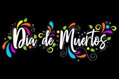 de diameter muertos dagen av den döda spanska textbokstäver isolerade illustrationen på svart bakgrund stock illustrationer