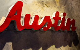 De dichte omhooggaande hoek van Austin Texas Metal Sign Hanging Wall Stock Afbeelding