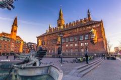 2 de diciembre de 2016: Ayuntamiento de Copenhague, Dinamarca Foto de archivo libre de regalías