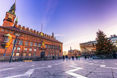 2 de diciembre de 2016: Cielo sobre la ciudad Hall Square en Copenhague, Fotos de archivo libres de regalías