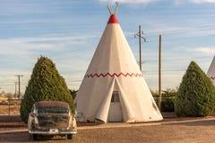 21 de diciembre de 2014 - hotel de la tienda india, Holbrook, AZ, los E.E.U.U.: hote de la tienda de los indios norteamericanos Imagen de archivo