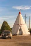 21 de diciembre de 2014 - hotel de la tienda india, Holbrook, AZ, los E.E.U.U.: hote de la tienda de los indios norteamericanos Imágenes de archivo libres de regalías