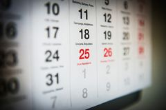 25 de diciembre en el calendario fotografía de archivo libre de regalías