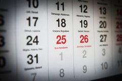 25 de diciembre en el calendario Foto de archivo libre de regalías
