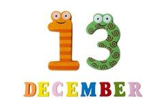 13 de diciembre en el fondo, los números y las letras blancos Foto de archivo libre de regalías