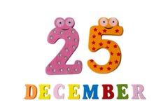 25 de diciembre en el fondo, los números y las letras blancos Foto de archivo libre de regalías