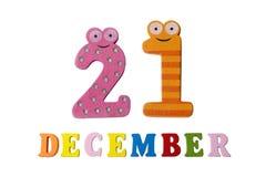 21 de diciembre en el fondo, los números y las letras blancos Imagen de archivo