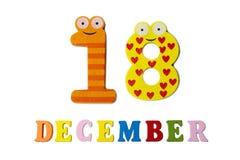 18 de diciembre en el fondo, los números y las letras blancos Imágenes de archivo libres de regalías