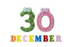 30 de diciembre en el fondo, los números y las letras blancos Fotos de archivo