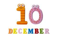 10 de diciembre, en un fondo blanco, números y letras Imagenes de archivo