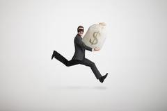De dief stal de zak met geld royalty-vrije stock afbeeldingen