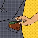 De dief steelt portefeuille van de vector van het zakpop-art stock illustratie