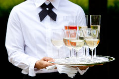 De dienende dranken van de kelner - huwelijksreeks Royalty-vrije Stock Foto's