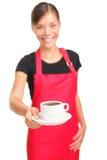 De dienende serveerster van de koffie Stock Afbeeldingen