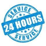 De dienst 24 uur van de blauwe inktzegel Stock Afbeeldingen