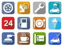 De dienst van de pictogrammenauto, autowasserette, het oppoetsen, band, koffie, kleur, vlakte Stock Foto