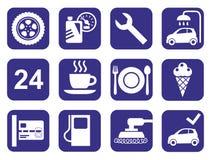 De dienst van de pictogrammenauto, autowasserette, het oppoetsen, band, zwart-wit koffie, vlakte Royalty-vrije Stock Foto's