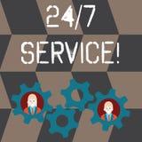 De Dienst 24 of 7 van de handschrifttekst Concept die de dienst betekenen die op om het even welk ogenblik en gewoonlijk elke dag stock illustratie