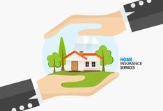 De dienst van het huisverzekeringsbedrijf Vectorillustratieconcept van Royalty-vrije Stock Afbeeldingen