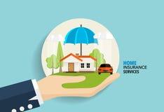 De dienst van het huisverzekeringsbedrijf Vectorillustratieconcept van Stock Foto's